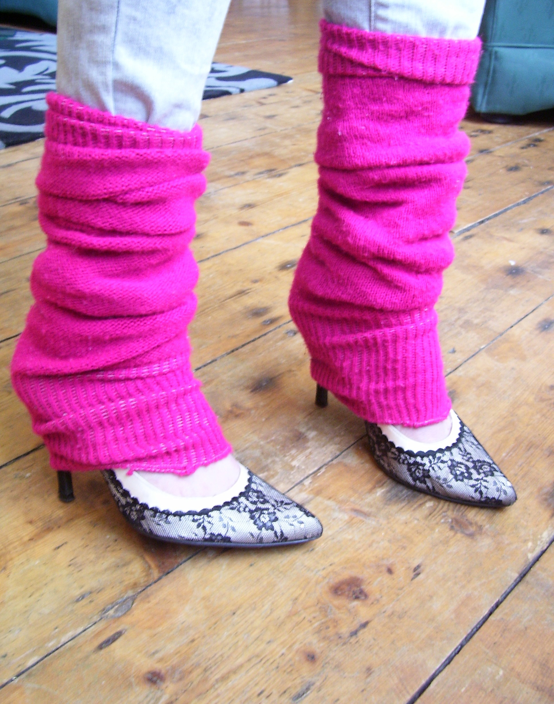 Pink Leg Warmers Over Jeans High Heels | Whisty