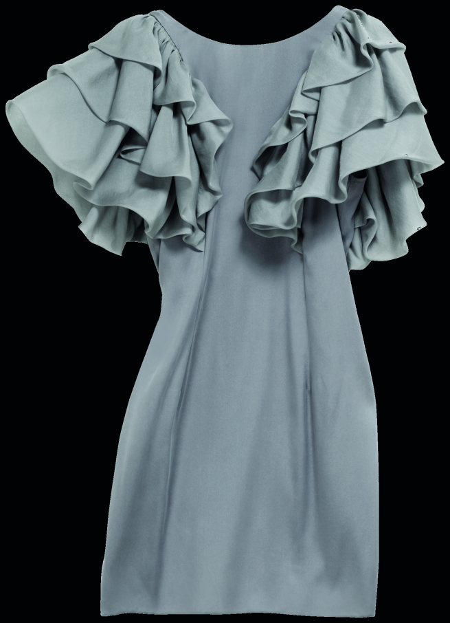 hm Grey Ruffle-Sleeve Dress