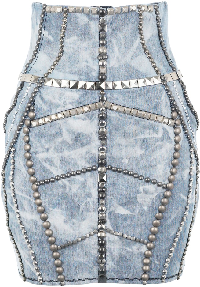 studded acid wash denim skirt river island