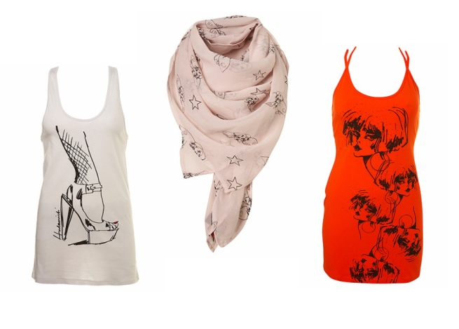 hulanicki-shoe-print-vest-star-and-bug-print-scarf-and-orange-strap-jersey-dress