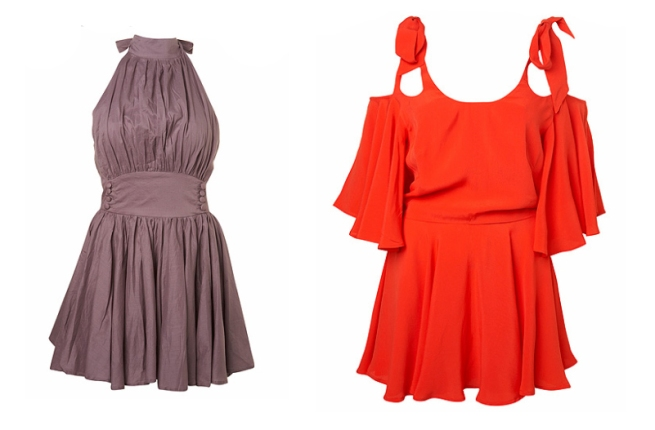 hulaninki-purple-halter-dress-and-coral-bow-shoulder-dress1