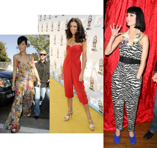 Rihanna floral jumpsuit, terri red, katy Perry Zebra Jumpsuit