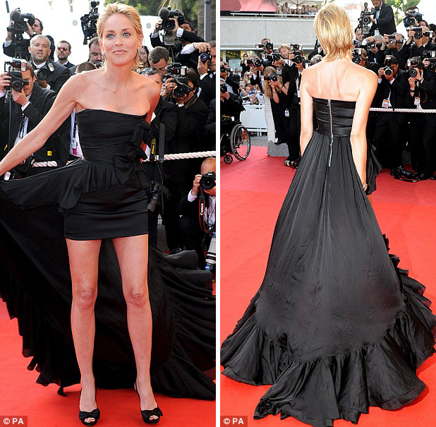 Sharon Stone in Black Balmain Cannes 2009 F&B