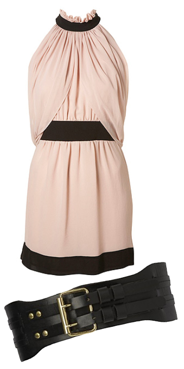 Nude Chiffon Dress topshop wide belt episode