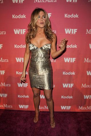 Jennifer-Aniston WIF Prada Gold dress