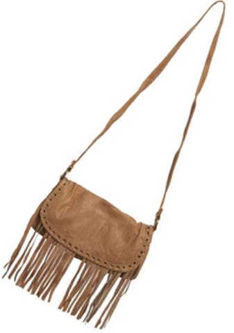 Wearhouse soft Leather Eyelet & Fringe Cross-body bag