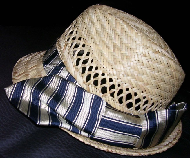 Straw Trilby with tie detail