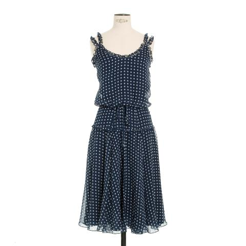 Navy silk spot dress Peter O'Brien AWear €190