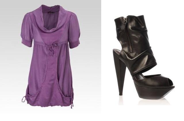 Purple Silk dress and platform peeptoes