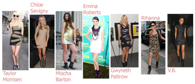 Celebrities in Booties and LIttle Dresses