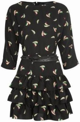 Tiered belted leaf-print dress £40 limited edition