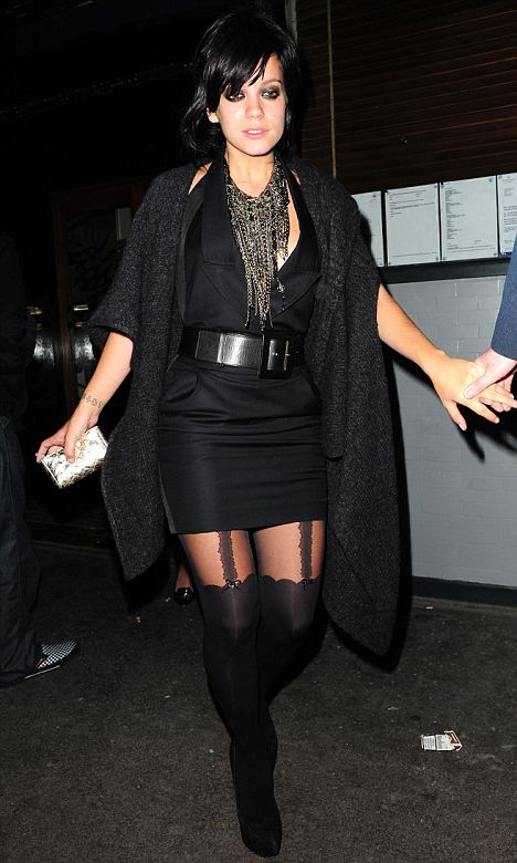 Lily Allen in Mock Stockings