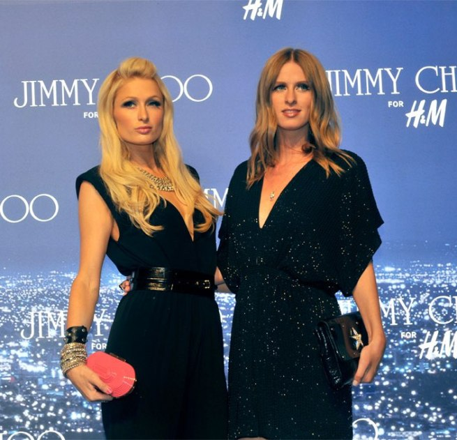 Nicky and Paris Hilton at Jimmy Choo for H&M launch