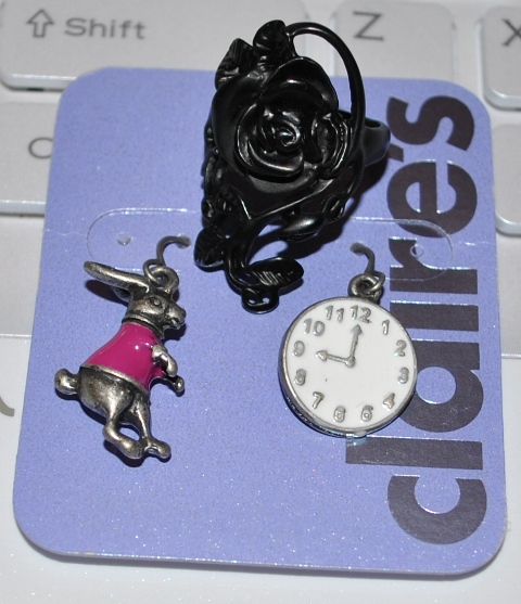Rose ring and Alice in Wonderland Earrings Accessorize
