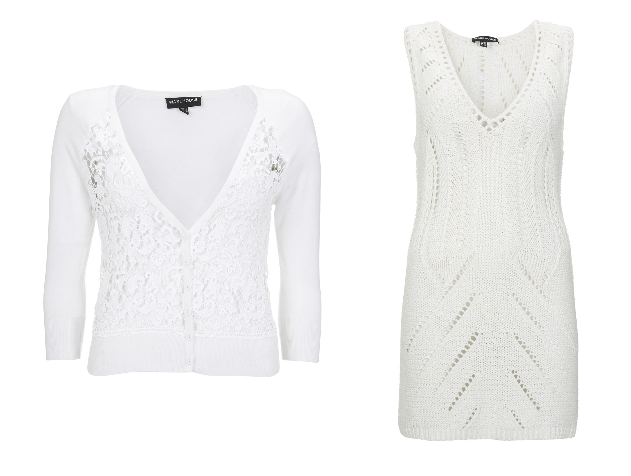 Crochet Dress €52 Crop lace panel cardi €46 Warehouse
