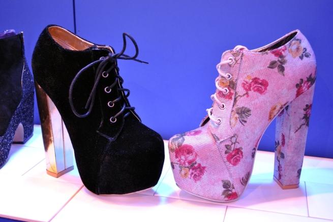 Heels black velvet and pink floral platform lita style boots