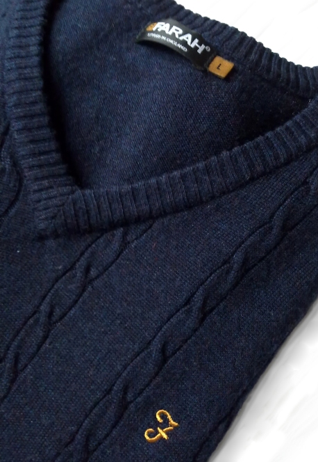 Farah Cable Front Merino Wool Vintage Jumper Navy Detail