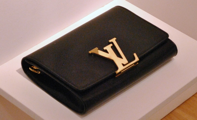 Louis Vuitton Black Leather Clutch WIth Gold Detail 2013 Whisty