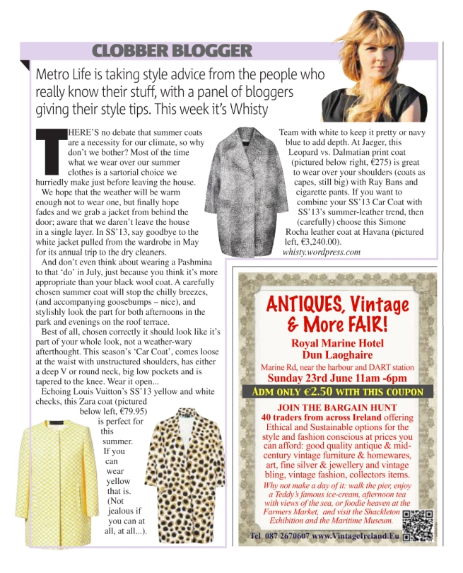 Whisty Clobber Blogger June 2013 Metro Newspaper