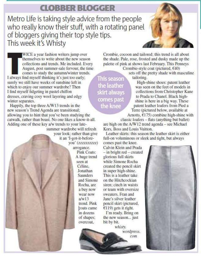 Whisty Fashion COlumn Metro Newspaper AW13 Trend Agenda